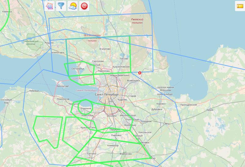 Структура воздушного пространства около СПБ